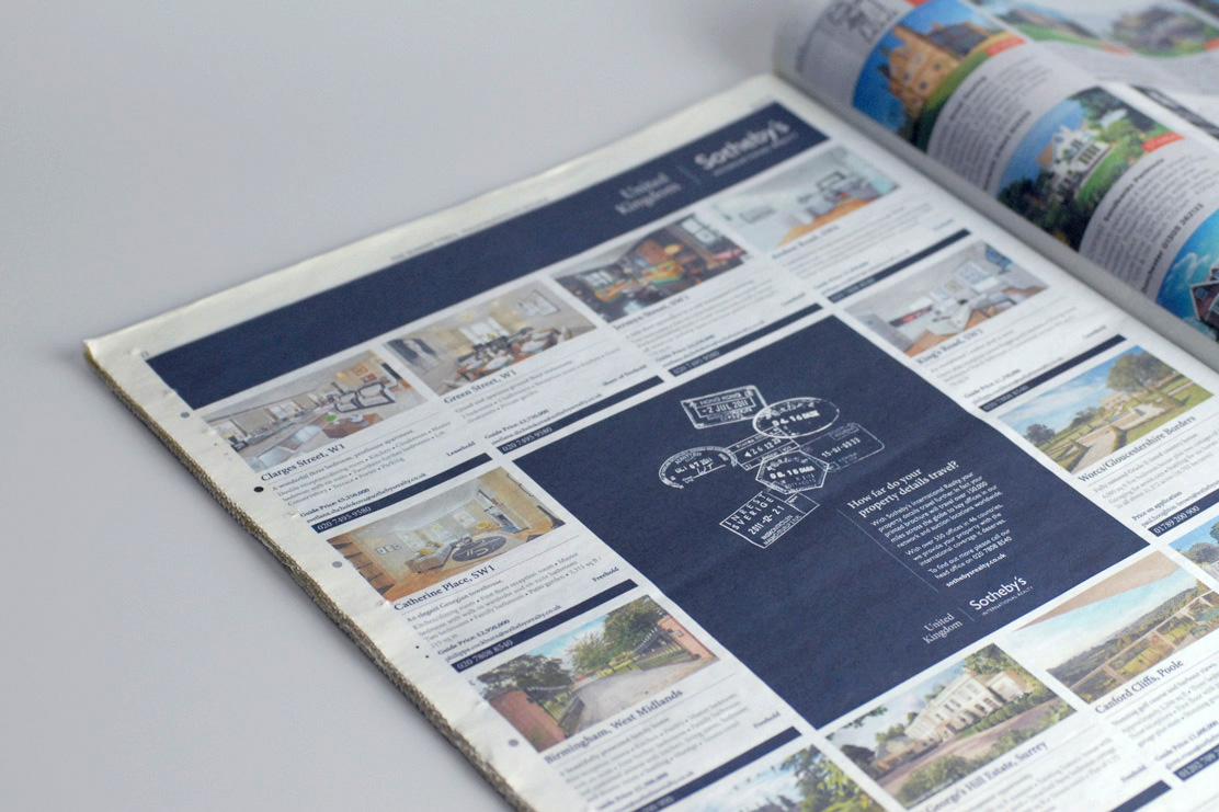 Sothebys advertising campaign in newspaper