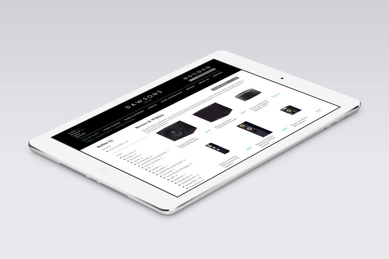 Dawsons website on tablet