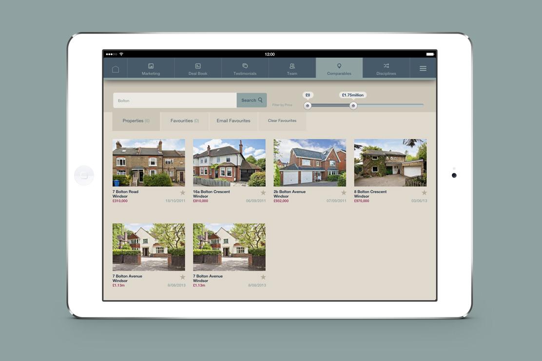 Savills iPad app properties page