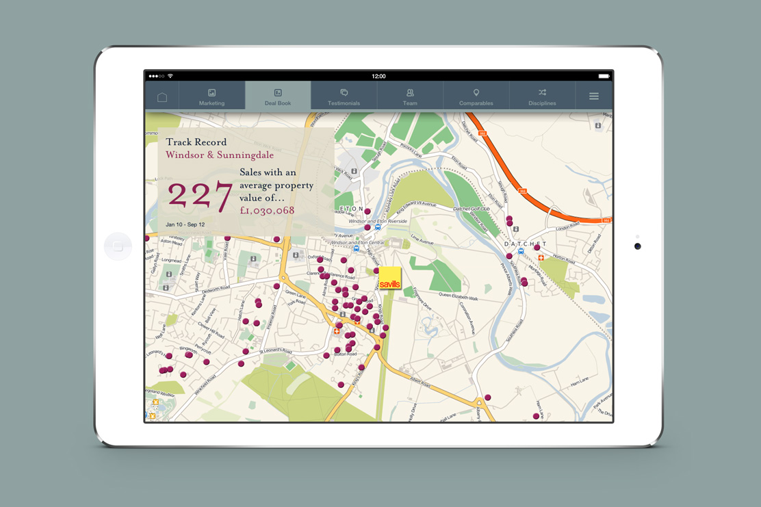 Savills iPad app map page