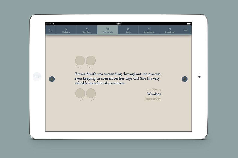 Savills iPad app testimonials page