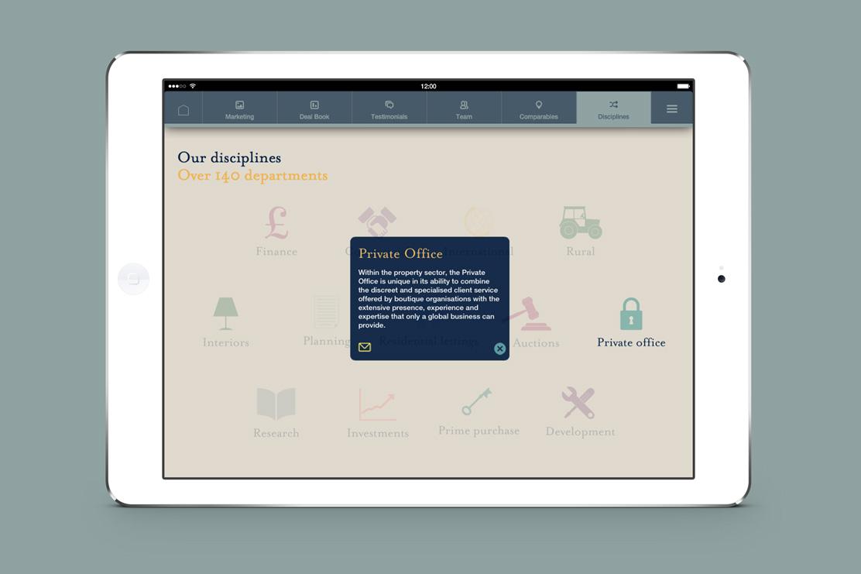 Savills iPad app disciplines page