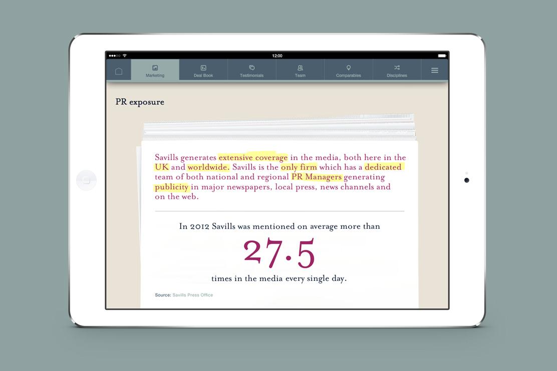 Savills iPad app PR page