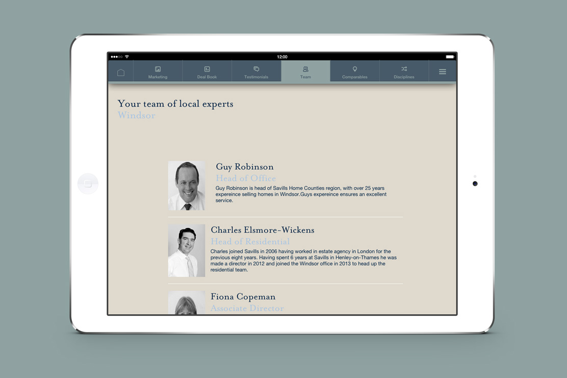 Savills iPad app experts page