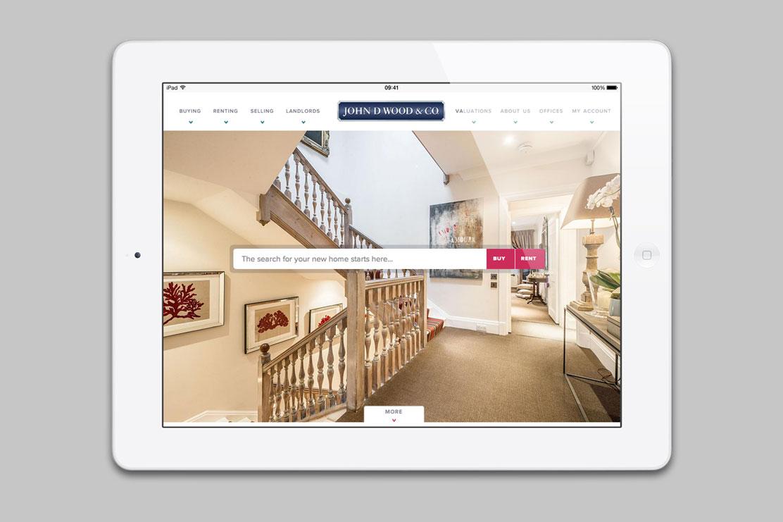 John D Wood website on tablet
