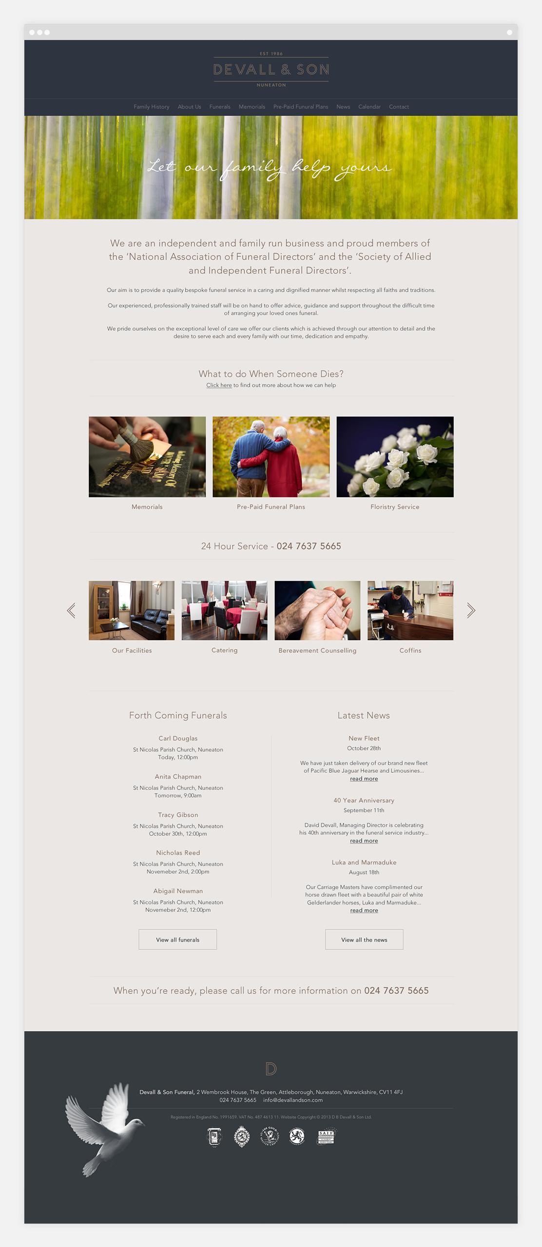 Website homepage featuring calendar feed