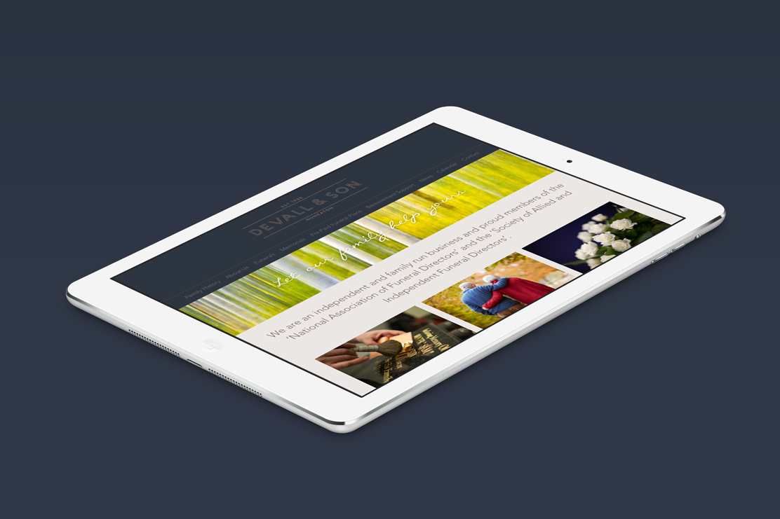 Tablet optimised website homepage